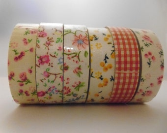 5 Rolls Cotton Fabric Adhesive Tape Decorative Gingham Pastel Floral Pink Peach