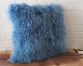 New Tibet lamb fur pillow blue with free shipping.