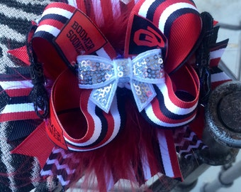 OOAK OTT Oklahoma Sooners Inspired Boutique Hairbow-RTS