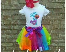 ELMO and ABBY 1st Birthday tutu outfit