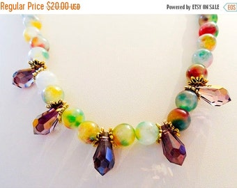 ON SALE 1154G - Watermelon jade necklace, watermelon jade, jade necklace, Swarovski teardrop, Swarovski crystal, lilac shadow crystal,magnet