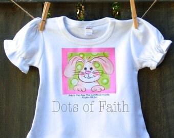 Easter bunny Girls Shirt short sleeve ruffle bottom