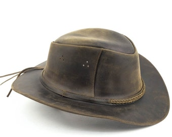 Brown Leather Safari Hat. Various sizes.