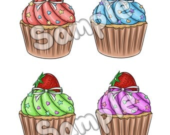 Cute Colorful Cupcake Stickers!!