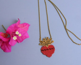 Sacred Heart Hand Beaded Necklace