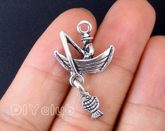 12pcs of Antique silver tone Fishing charms pendants  3D 31x18mm
