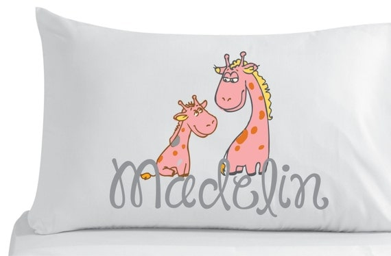 Items similar to Personalized, pillow case, cute little giraffes- bedroom decor- nursery decor ...