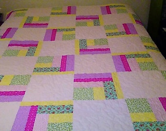 Twin size handmade quilt in fresh colors ( Popsickles)