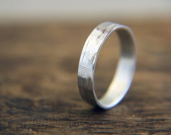 Men's ring, Silver Man's Band, Silver Textured Men's Ring Size 10