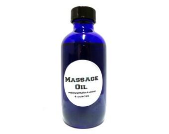 Massage Oil, 4oz Blue Glass Bottle -  fantastic massage oil for all types of massages