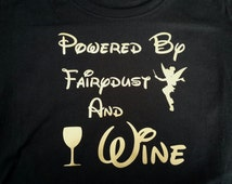 Powered by fairydust and wine Disney TANK top vest training top ladies Tinkerbelle