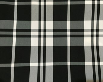 Plaid - Black and White - Taffeta - Upholstery Fabric by the Yard