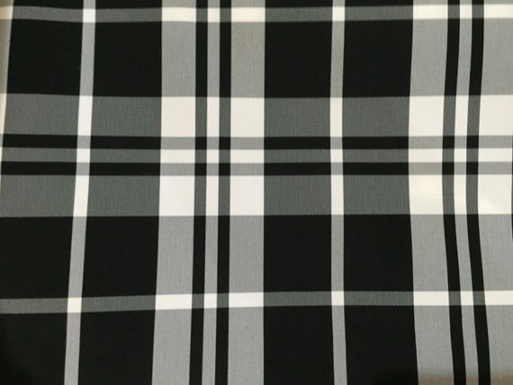 Plaid Black And White Taffeta Upholstery Fabric By The