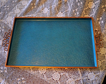 Vintage Blue Moire Glaze Kyes Serving Tray, 15 x 9 3/4 in.