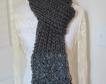 Chunky Knit Scarf, Hand Knit Scarf, Ribbed Scarf, Grey Scarf, Boucle Scarf, Ribbed Knit Scarf, Chunky Ribbed Scarf, Gifts for Her