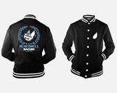 Blue Shell Racing Black Varsity Jacket inspired by Mario Kart
