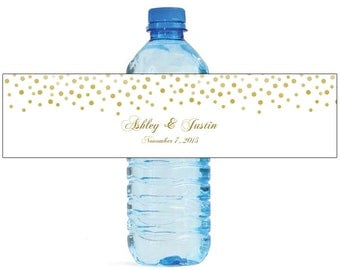 Gold Confetti falling on white background Wedding Anniversary Water Bottle Labels Customizable labels self stick, easy to use