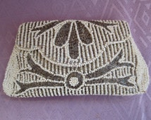 Vintage Ivory and Gunmetal Beaded Purse Handmade Belgium  Wedding accessory