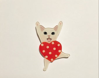 Meow white kitten with red polka dot heart shape acrylic  pin badge