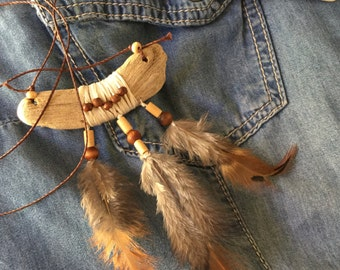 Nice original necklace made with driftwood and wood beads