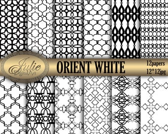 Black and White Digital Paper, damask background, Orient  pattern for scrapbooking. Instant Download