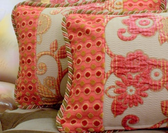 12x16 Quilted Decorative Pillow, Pink and Yellow, Chenille Fabrics, By Jane Hall Design