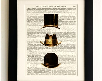 ART PRINT on old antique book page - Set of 3 Hats, Vintage Upcycled Wall Art Print, Encyclopaedia Dictionary Page, Gift