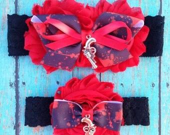 Zombie Blood Splatter Garter Set | Customize This Set- Pick Your Own Charm | Zombie Wedding Garters | Bridal Garter and Toss Garter