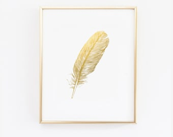 Feather Print - Faux Gold Foil Feather Wall Art - Available in many sizes - Print - Artwork - White and gold - Modern minimalist (1032)