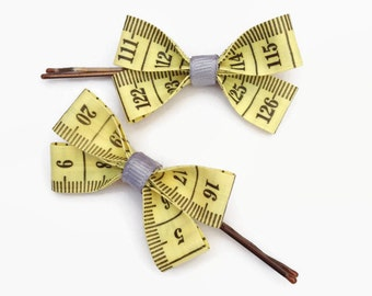 Yellow and Grey Tape Measure Hair Bows, Duo of Little Bobby Pin Hair Slides!