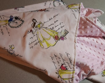 Disney Princess Minky Blanket / Handmade Baby Toddler Girl Shower Gift / Vintage Inspired / Snow White / Cinderella / Belle