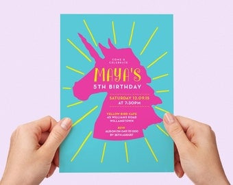 Unicorn Kids Party Invite First birthday Baby Girl Invite Toddler Colourful 1st 2nd 3rd 4th 5th 7th 8th 9th 10th Printable Invitation