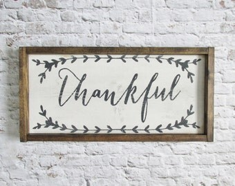 Thankful Wood Sign Rustic Signs Wooden Farmhouse Decor Home