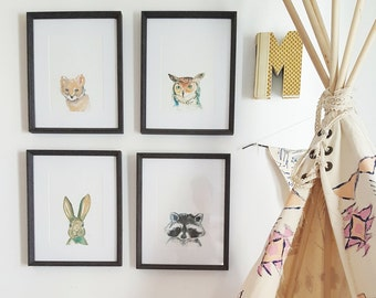 Series of 4 Watercolour Woodland Animal Prints