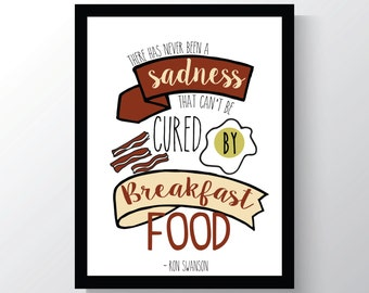 Ron Swanson Breakfast - Parks And Recreation - Leslie Knope Quote - Cheap Home Decor - 8x10 photo print - Kitchen Wall Decor -
