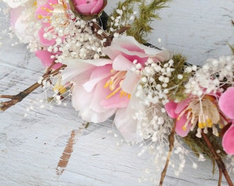 The Puanani Flower Crown-Halo-Flowers-Wedding-Wreath-Hairpeice-Photoprop-Flowercrown-Spring-Pink-White-Accessory-Bloom-Blossom-CherryBlossom