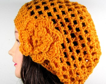 Mustard Yellow Mesh Beret with Flower, Crochet, Slouchy, Tam, Womens, Snood, Net