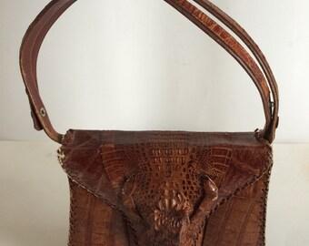 Vintage Genuine Alligator Skin Handbag