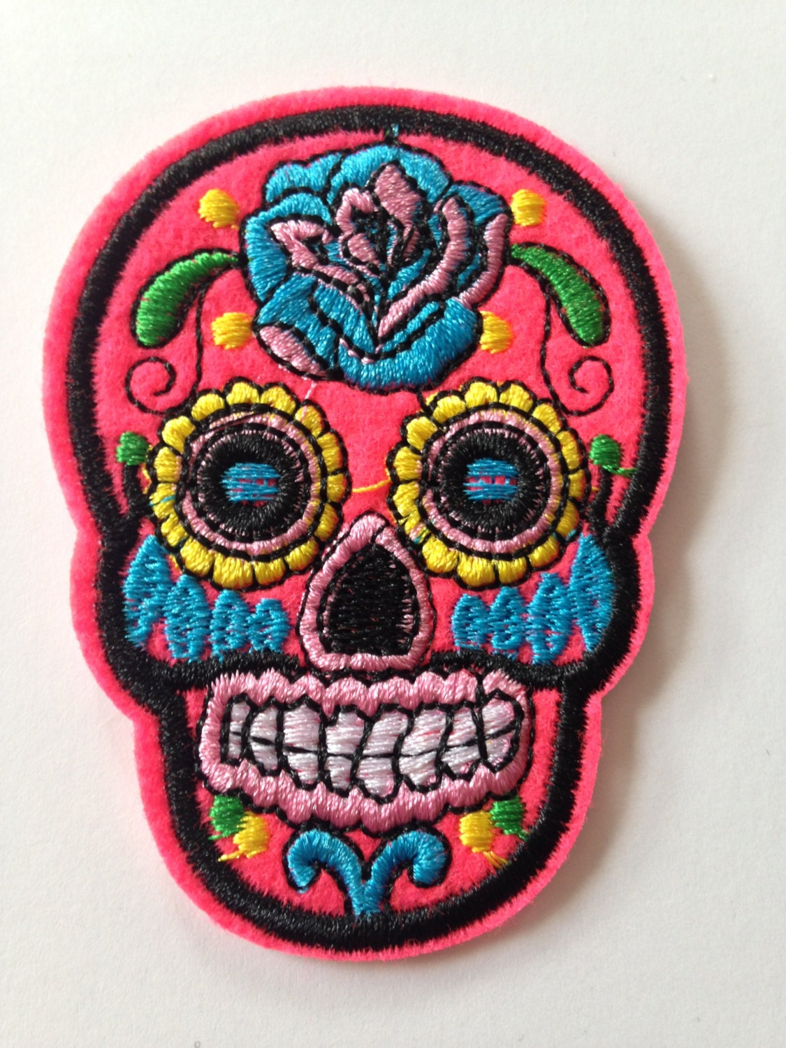 Bright Pink Sugar Skull Iron on Patch by PurpleSharks on Etsy