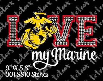 Love My Marine - USMC - Rhinestone Mixed Media - Marine Wife - Bling SVG Download - Vector - Clip Art - Cut File