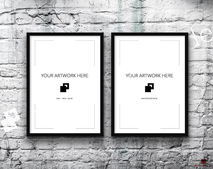 5x7 Set of 2 Frames BLACK FRAME MOCKUP, Vertical, Styled Photography Poster Mockup, old White Brick Background, Framed Art, Instant Download