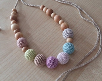 Breastfeeding nursing.Nursing necklace.Pink necklace.Teething necklace.Organic cotton.Bio.Juniper.