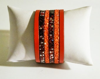 6 craft Cuff Bracelet links leather Red Red glittery red snake