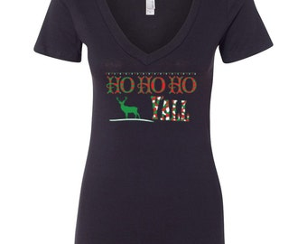Ho Ho Ho Yall Women's V-Neck T-shirt Merry Happy Christmas Gift Tees