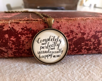 PRIDE and PREJUDICE NECKLACE Handmade Glass Cabochon Necklace Mr. Darcy Necklace Love Necklace Quote Necklace