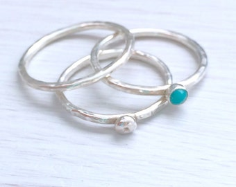 Turquoise stone ring set, blue stone ring, gemstone stacking rings, handmade silver ring with turquoise gemstone, stacking ring set,