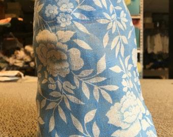 Blue and White Flowered Drawstring Bag