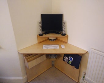 Bespoke corner computer desk with laptop rack / stand and storage