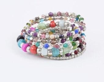 Multicolor Coil Wrap Glass Bracelet (See Colors)