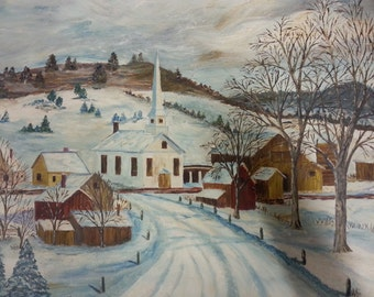 Vintage Oil Painting, Farmhouse Style Painting, Vermont Town Painting, Original Oil Painting, Mid Century Painting